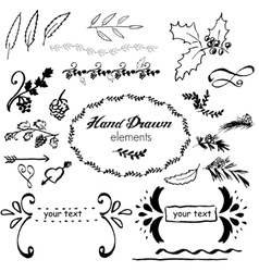 collection hand-sketched element vector image
