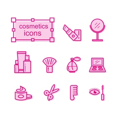 Thin line icons set cosmetics vector