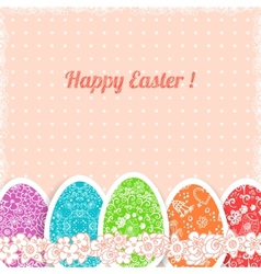 Easter vintage background with colorful ornament vector image
