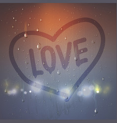Love heart on misted glass composition vector