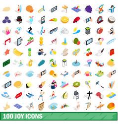 100 joy icons set isometric 3d style vector image