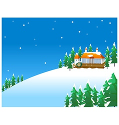 Snowy winter scene in the countryside with vector