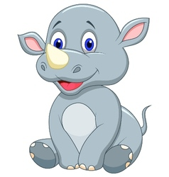 Cute baby rhino cartoon vector