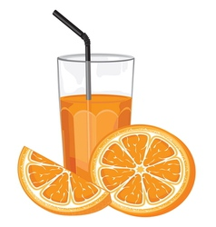 Orange juice and slice vector