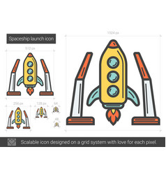 Spaceship launch line icon vector