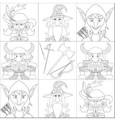 Fantasy heroes set avatar contour vector