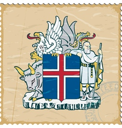Coat of arms of Iceland on the old postage stamp vector image