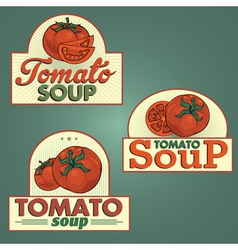 Tomato soup labels set vector
