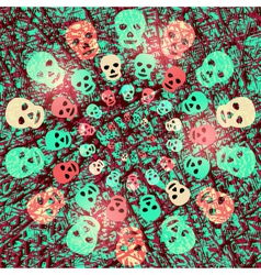 Creepy halloween background with skulls vector