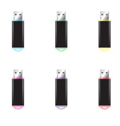 USB Flash Drive isolated set vector image