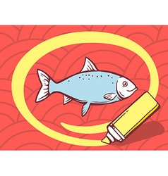 Marker drawing circle around fish on red vector