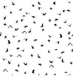 Doves and pigeons silhouette seamless pattern on vector