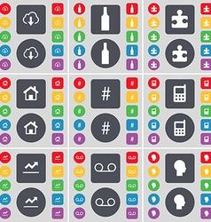 Cloud bottle puzzle part house hashtag mobile vector