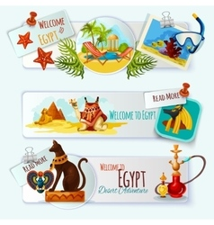 Egypt touristic banner set vector