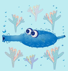 Oval water cartoon monster with big eyes vector