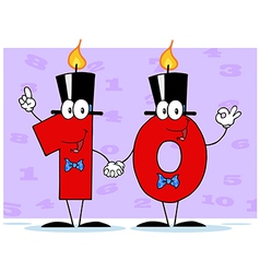 Number ten candles cartoon character vector