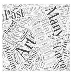 Art auctions greco roman statues word cloud vector