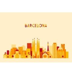 Barcelona Spain Big City Skyline Flat Style vector image vector image
