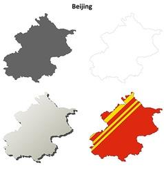 Beijing blank outline map set vector