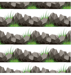 cartoon grass and stones seamless pattern vector image vector image