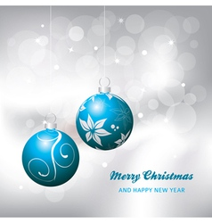 christmas card background blue and silver vector image vector image