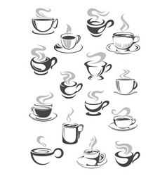 coffee cup and tea mug icon set for drink design vector image