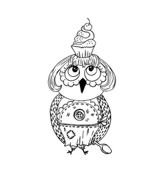 Cute doodle owl with cake on the head Young lady vector image vector image
