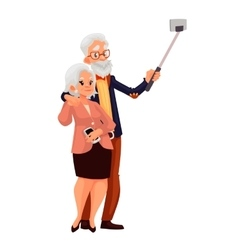 Elder grey-haired caucasian couple taking selfie vector