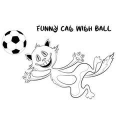 Funny contour cat with soccer ball vector