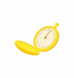 Golden pocket watch icon cartoon style vector