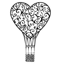 Hot air balloon from heart vector image