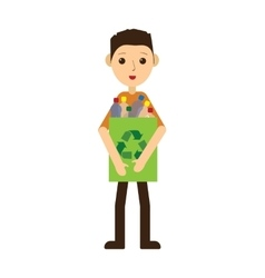 Man recycling plastic bottles standing and vector