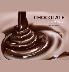 melted chocolate flow pouring background vector image
