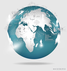 Modern globe with elements of infographics and vector image vector image