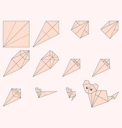 Origami cat and instruction vector