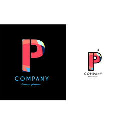 p blue red letter alphabet logo icon design vector image