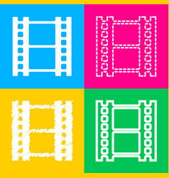 Reel of film sign four styles of icon on four vector