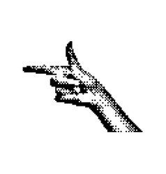 right hand pointing 8 bit minimalistic pixel art vector image vector image