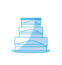 Silhouette delicious cake to celebrate special day vector