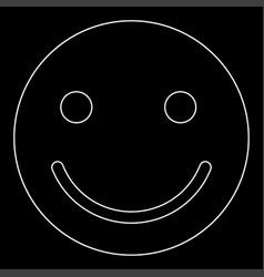smile white color path icon vector image vector image
