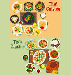 Thai cuisine icon set for tasty asian food design vector