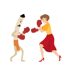 Woman fighting a huge evil cigarette in box gloves vector