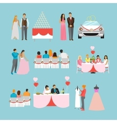 Wedding ceremony design isolated icons vector