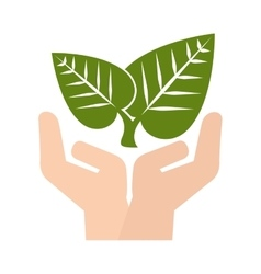 Hand plant leaves vector