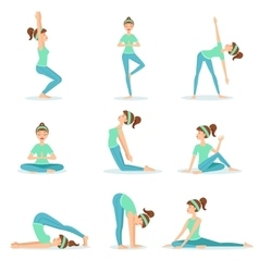 Girl in blue training clothes demonstrating yoga vector