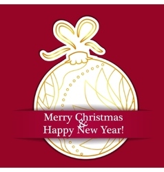 Merry Christmas card on paper with ball vector image