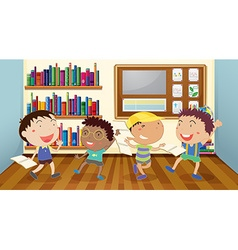 Boys reading books in classroom vector