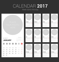 2017 calendar planner design with circle space vector