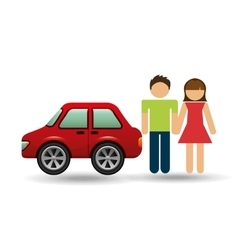 Couple with hatchback car red vector