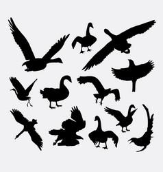 Duck goose swan eagle bird silhouette vector